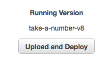 Close up view of the **Upload and Deploy**button.