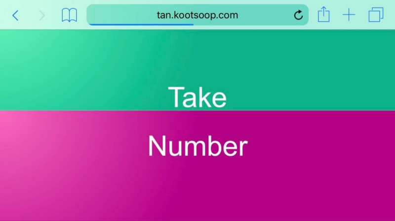 The Take A Number site on a mobile device in landscape mode.