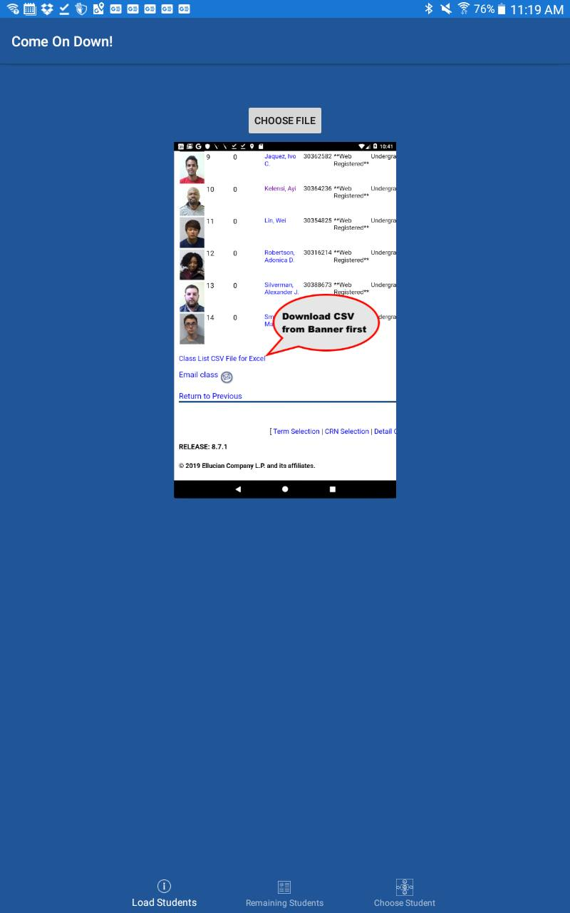 Uploading new student details to the app.
